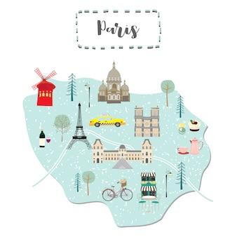 フランスのパリのかわいい地図