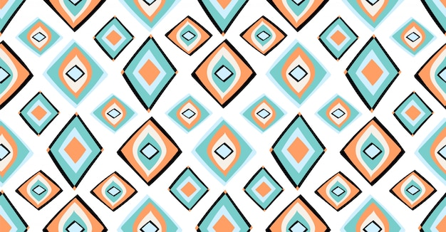 Оранжевый зеленый синий геометрический узор бесшовные в африканском стиле с квадратной формы племенного круга