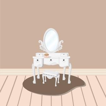 関連するミラーとスツールベクトルを持つ白いドレッシングテーブル