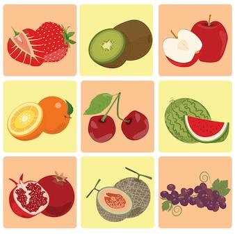 Красный зеленый свежий значок фруктов