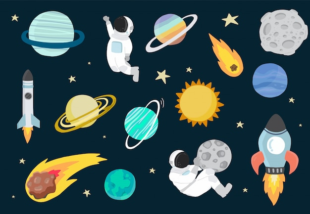 Мультфильм объект космической коллекции с планеты, астронавт, луна, солнце.