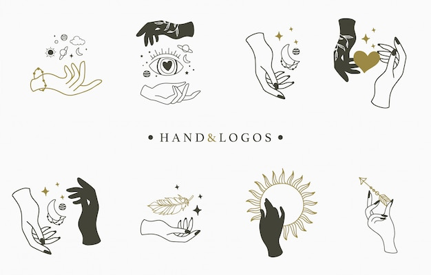 Красота оккультной коллекции логотипов с рукой, кристаллом, луной, глазом и звездой.