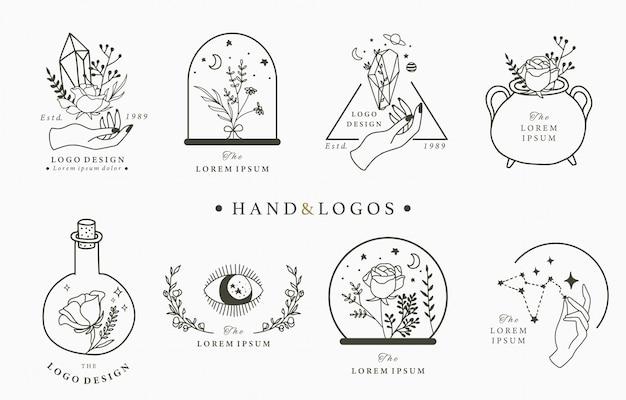 Красота оккультный логотип коллекции с рукой, геометрические, кристалл, луна, глаз, звезда.