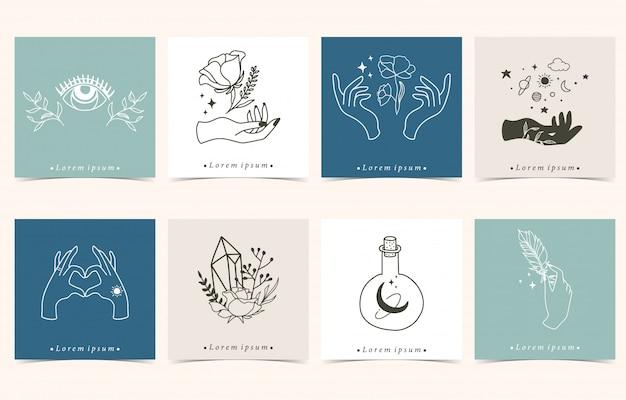 手、花、目、月入りのオカルト背景のコレクション。