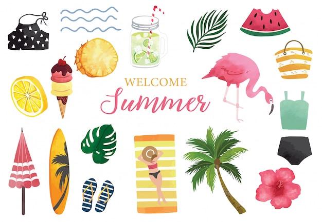 スイカ、レモン、フラミンゴ、アイスクリームの夏の水彩画コレクション。
