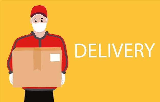Онлайн доставка бесконтактных услуг на дом, в офис. доставщик носит знак, чтобы предотвратить коронавирус