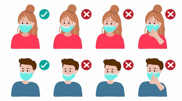 細菌、コロナウイルスの蔓延を防ぐためにマスクを正しく着用する方法。