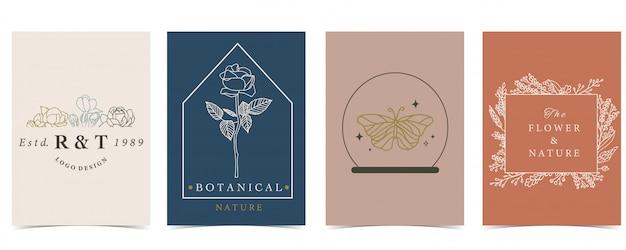 Коллекция оккультных фон с бабочкой, цветок.
