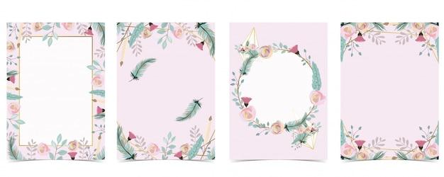 Геометрия розовое золото свадебные приглашения с розой, листьями, венком, пером и рамкой
