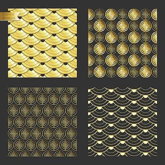 金のシームレスな中国パターン