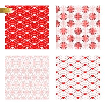 赤のシームレスな中国パターン