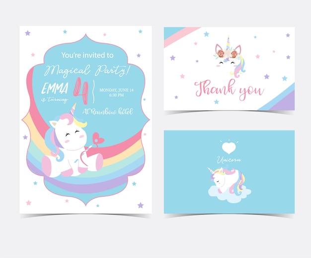 ユニコーンと手描きのかわいいカード