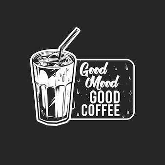 Черно-белый холодный кофе значок на черном