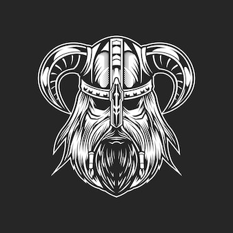 Черно-белая голова викингов