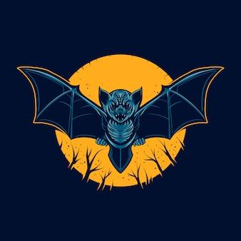 Иллюстрация летучей мыши вектор ночь и луна