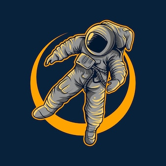 Астронавт векторная иллюстрация полет с лунным светом