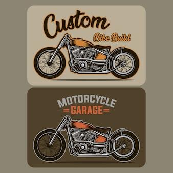 Таможенный гараж мотоцикла векторные иллюстрации винтажный стиль