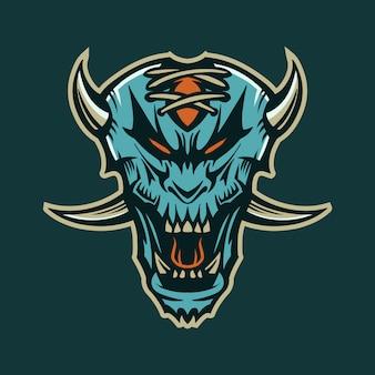 Синяя голова дьявола векторная иллюстрация