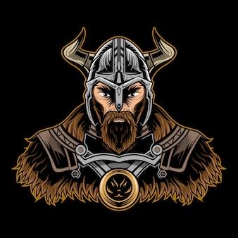 Иллюстрация викинга на темноте