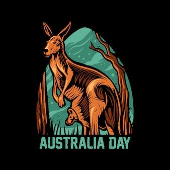 黒のオーストラリア日カンガルーイラスト