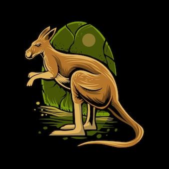 暗闇の上のカンガルーの図
