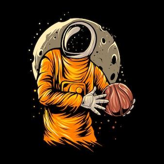 宇宙飛行士のバスケットボールのイラストデザイン
