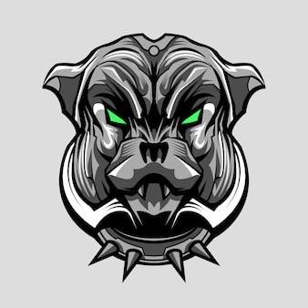 Бульдог питбуль собака меха дизайн иллюстрации
