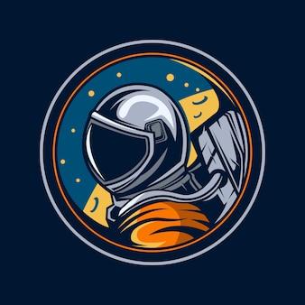 月イラストエンブレムの宇宙飛行士