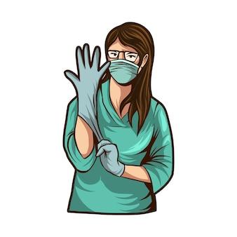 白い背景で隔離の手手袋イラストを身に着けている医者