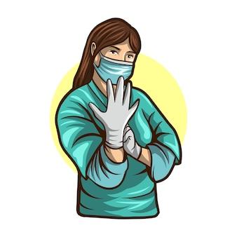 女医が分離したイラストを手術する準備ができて
