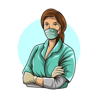 白い背景で隔離の看護師イラスト