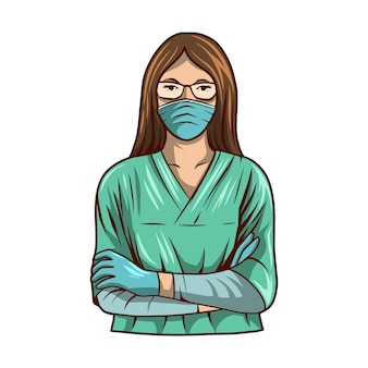 美しい看護師手術スーツイラスト分離された白い背景