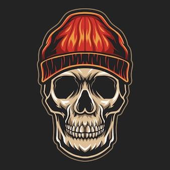 Голова черепа, носящая гангстерский дизайн тюбетейки