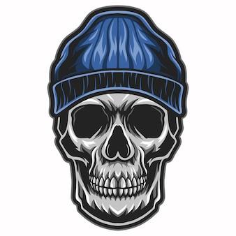 Череп головы носить шляпу тюбетейка иллюстрации на белом фоне