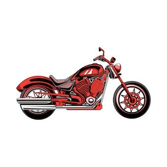 赤いオートバイのイラストベクター