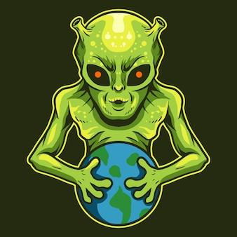 Инопланетянин держит дизайн иллюстрации вектора земли изолированный на темноте