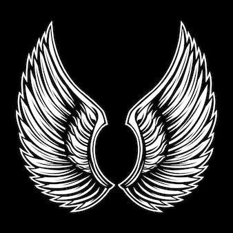 翼の羽ばたき黒と白