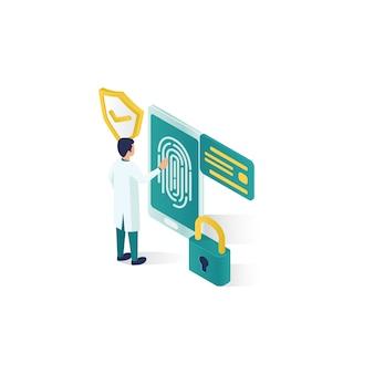 Изометрические иллюстрации безопасности данных, безопасность данных людей в изометрическом стиле дизайна