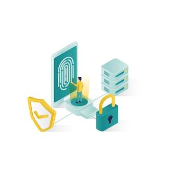 等尺性データセキュリティ図、アイソメ図スタイルデザインの人々データセキュリティ