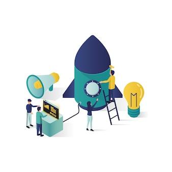 等尺性スタイルのチームワーク概念等尺性イラスト協力パートナーシップ概念図。
