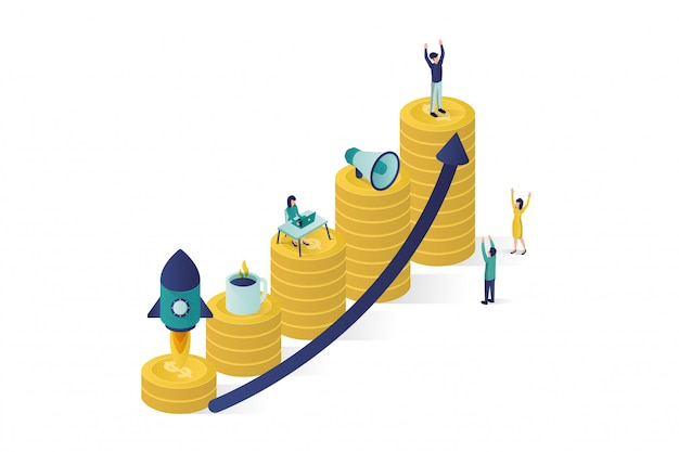 人々のキャラクターのグループがビジネスプロジェクトの開始を準備している等角投影図。キャリアの成功への上昇