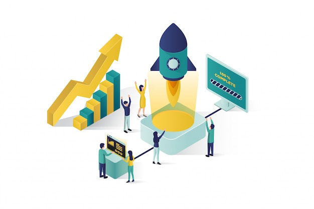 Изометрическая иллюстрация группа людей персонажей готовит бизнес-проект запуска. рост карьеры к успеху, бизнес-изометрия, бизнес-анализ