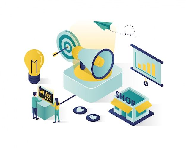 ビジネスプロモーションアイソメ図、ソーシャルメディアマーケティングのアイソメ図