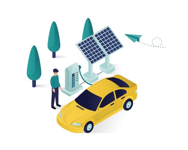 ソーラーパネルのエネルギーは、車の電源の等角投影図を充電しています