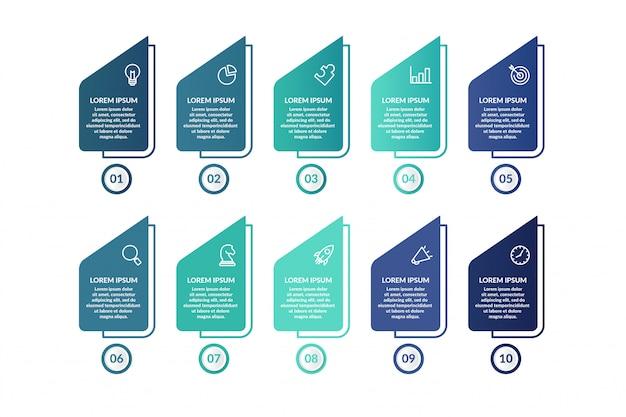 Список инфографики шаблон дизайна для презентации