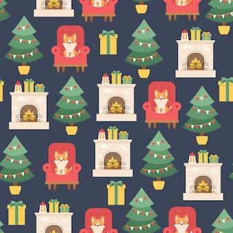 Рождественский интерьер. бесшовные модели или обои.