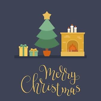 Рождественская елка, рождественские подарки и камин
