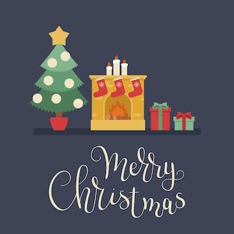 Рождественская елка, рождественские подарки и камин с чулками
