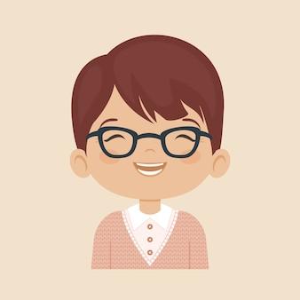 顔、笑顔、眼鏡、少年