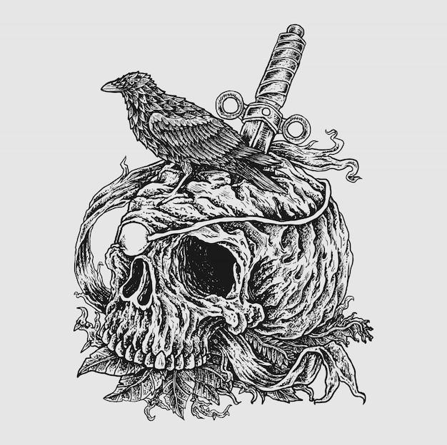 頭蓋骨を描く闇の概念